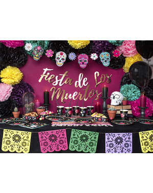6 Black Paper Plates with Multicolored Flower (18 cm) - Dia de Los Muertos Collection