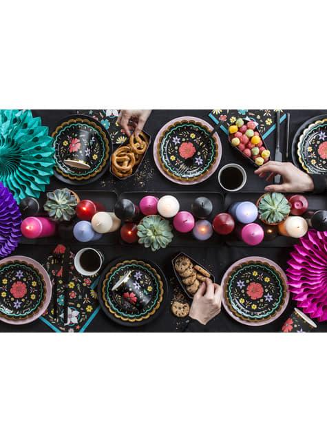 6 platos negros con flores multicolor de papel (18 cm) - Dia de Los Muertos Collection - barato
