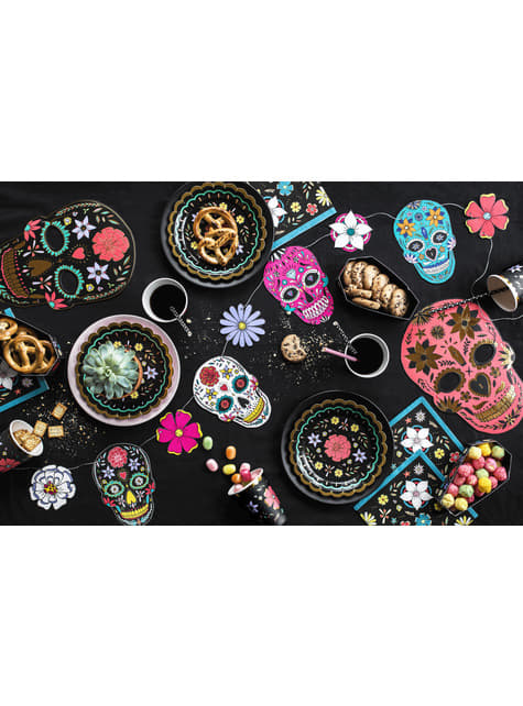 6 piatti neri con fiori multicolore di carta (18 cm) - Dia de Los Muertos Collection