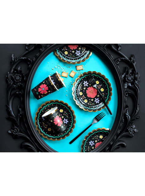 6 platos negros con flores multicolor de papel (18 cm) - Dia de Los Muertos Collection - para niños y adultos