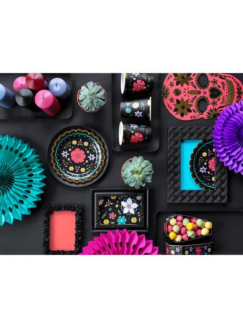 6 platos negros con flores multicolor de papel (18 cm) - Dia de Los Muertos Collection - original