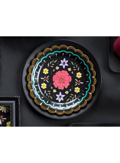 6 platos negros con flores multicolor de papel (18 cm) - Dia de Los Muertos Collection - el más divertido