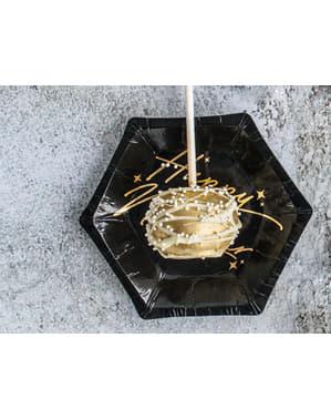 Set 6 černých & zlatých šestiúhelníkových papírových talířů