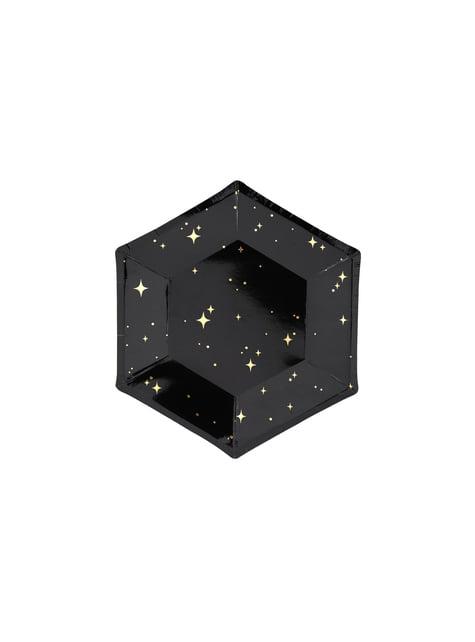 6 platos pentagonales negros con estrellas doradas de papel (20 cm) - New Year's Eve Collection