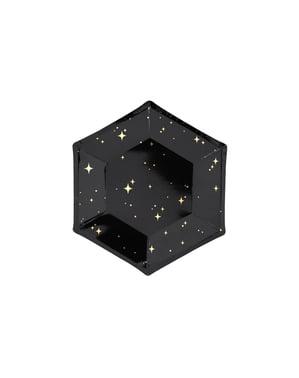6 farfurii pentagonale negre cu stele aurii de hârtie (20 cm) - New Year's Eve Collection