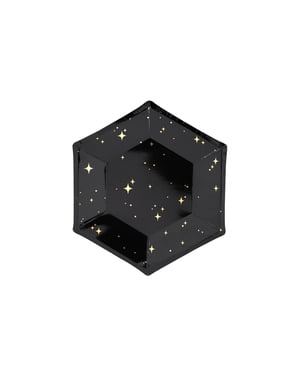 6 piatti pentagonali neri con stelle dorate di cart (20 cm) - New Year's Eve Collection