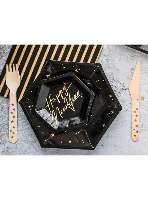 6 Black Paper Plates with Gold Star (20 cm) - New Year's Eve Collection
