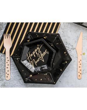 6 zwarte papieren borden met gouden sterre (20 cm) - Nieuwjaars Collectie