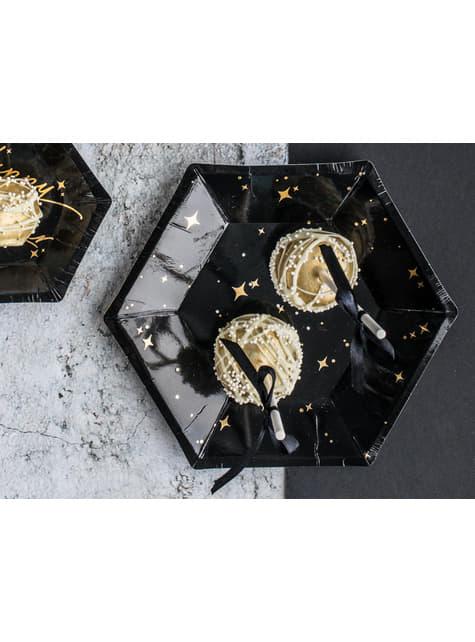 6 platos pentagonales negros con estrellas doradas de papel (20 cm) - New Year's Eve Collection - barato