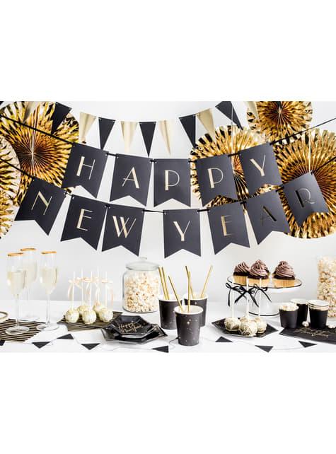 6 platos pentagonales negros con estrellas doradas de papel (20 cm) - New Year's Eve Collection - comprar
