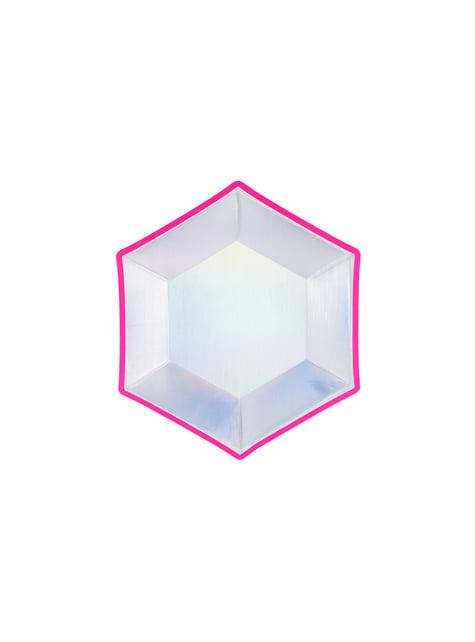 Conjunto de 6 pratos pentagonais holográficas com borda de papel multicolorida - Electric Hoo