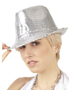 Zilverkleurige hoed popster voor vrouw