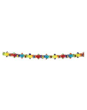 Grinalda decorativa flores de cores