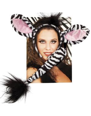 Kit acessórios de zebra para mulher