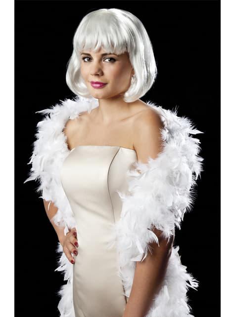 Boa glam blanca para mujer