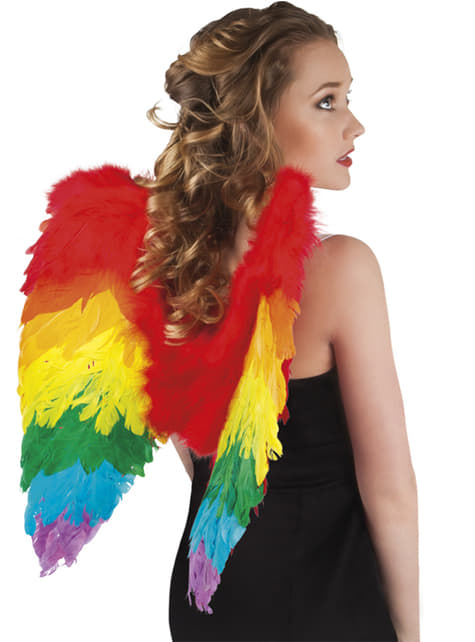 Asas de anjo arco-íris para mulher
