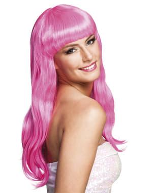 Peluca rosa con flequillo