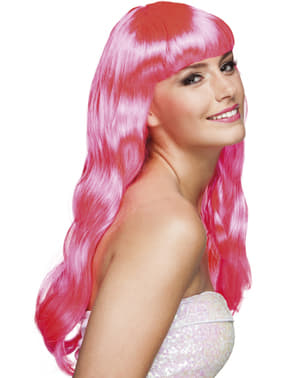 Chique Perücke sinnlich rosa für Damen