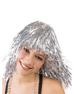 Perucă argintiu metalic pentru femeie