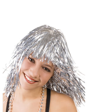 Zilverkleurige pruik metallic voor vrouw