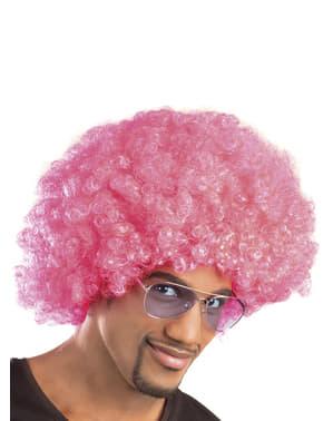 Roze afro pruik unisex