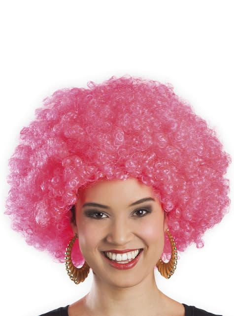 Peluca afro rosa unisex - para tu disfraz