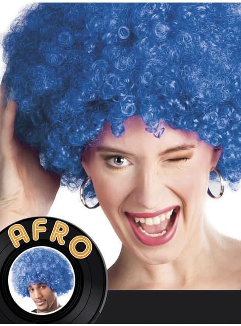 Peluca afro azul unisex - original
