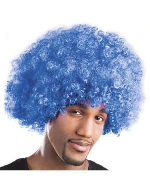 Peluca afro azul unisex