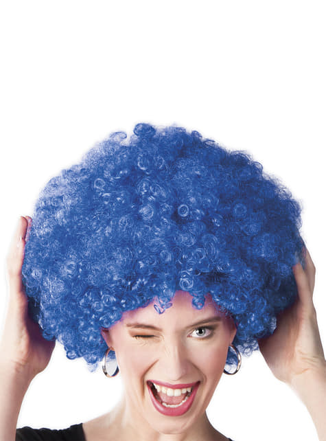 Peluca afro azul unisex - para tu disfraz