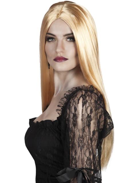 Peluca de bruja color rubio para mujer