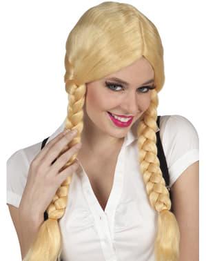 Lang Blond Parykk med Tyroler Fletter til Damer