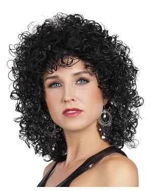 Womens black clubbing wig