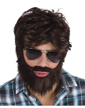 Kit de peluca y barba fiestera para hombre