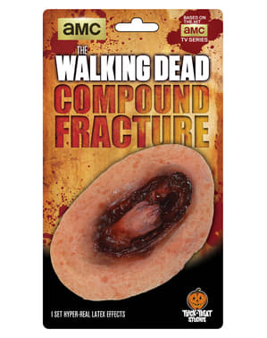 Prótese de fratura sangrenta The Walking Dead em látex