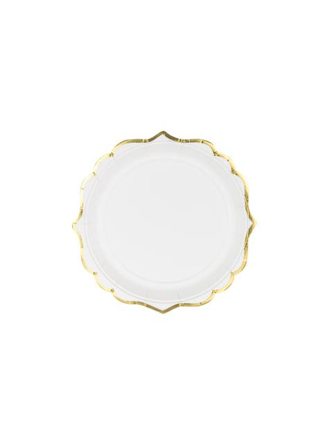6 platos blancos con bordes dorados de papel (18,5 cm) - Wedding in rose colour