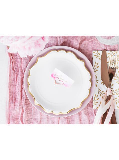 6 platos blancos con bordes dorados de papel (18,5 cm) - Wedding in rose colour - barato