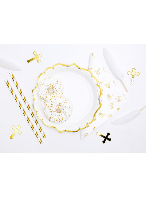 6 platos blancos con bordes dorados de papel (18,5 cm) - Wedding in rose colour - original