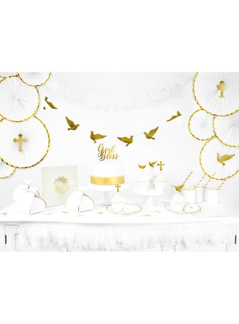 6 platos blancos con bordes dorados de papel (18,5 cm) - Wedding in rose colour - para decorar todo durante tu fiesta