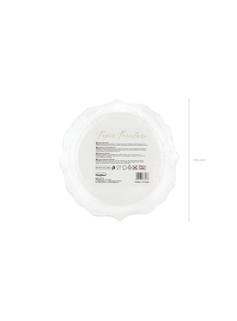 6 platos blancos con bordes dorados de papel (18,5 cm) - Wedding in rose colour - para tus fiestas