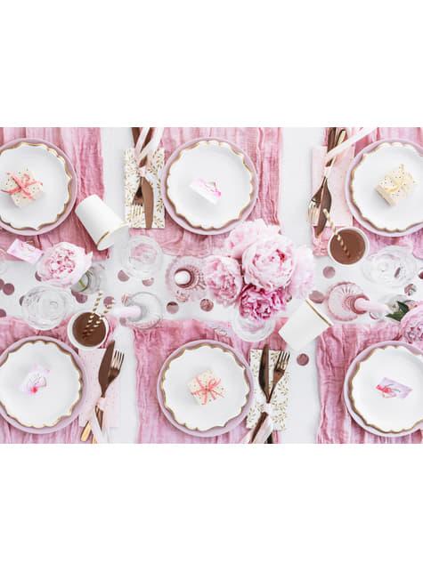6 platos blancos con bordes dorados de papel (18,5 cm) - Wedding in rose colour - para niños y adultos