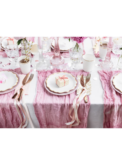 6 assiettes blanches bords dorés en carton - Wedding in rose colour