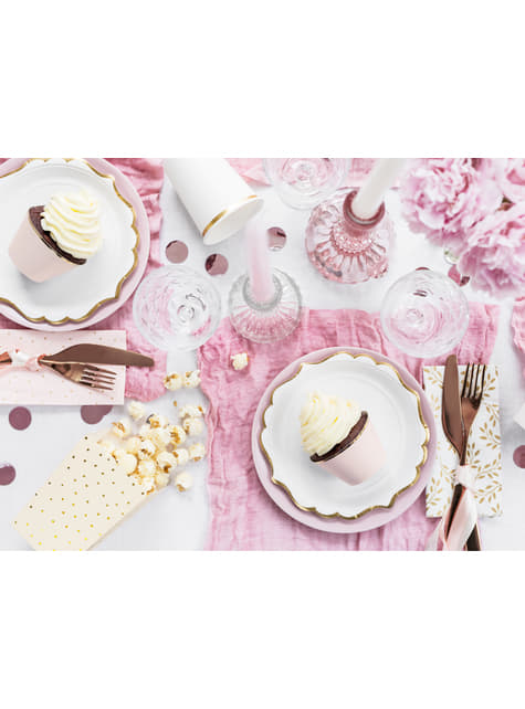 Set de 6 platos blancos con bordes dorados de papel - Wedding in rose colour