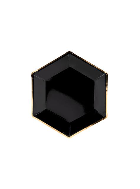 6 platos pentagonales negros con bordes dorados de papel (23 cm) - Gold 30th Birthday
