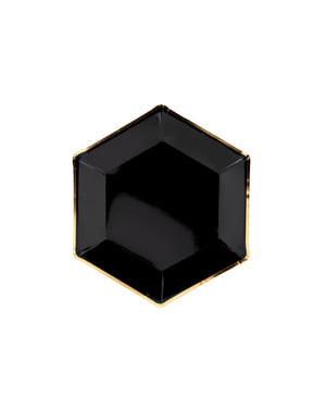 6 Hexagon Paper Plates with Gold Rim, Blac (23 cm) - Gold 30th Birthday