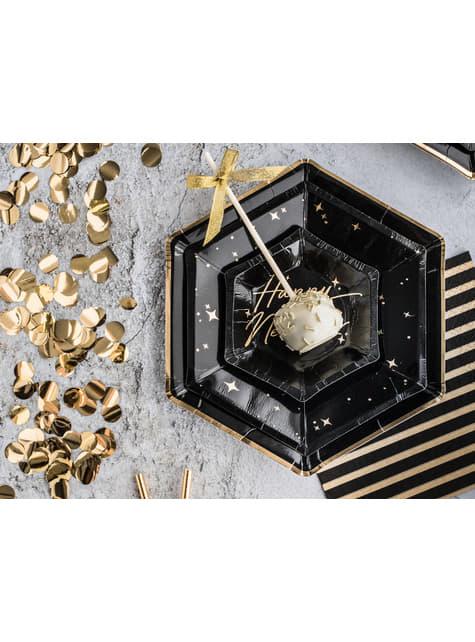 6 platos pentagonales negros con bordes dorados de papel (23 cm) - Gold 30th Birthday - para tus fiestas