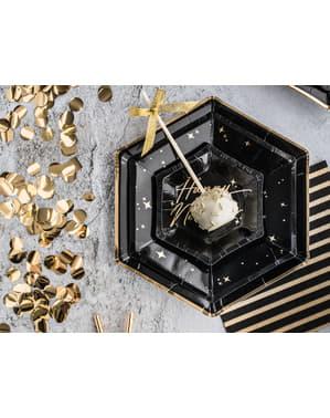 6 pratos pentagonais negras com bordas douradas de pape (23 cm) - Gold 30th Birthday