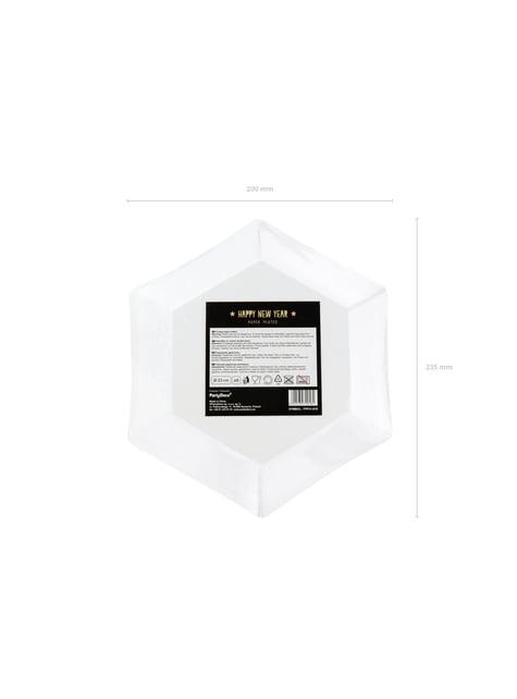 6 platos pentagonales negros con bordes dorados de papel (23 cm) - Gold 30th Birthday - comprar