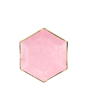 6 kuusikulmion muotoista paperilautasta kultaisella reunuksella, pinkki - Gold Bridal Shower