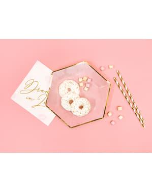6 zeskantig papieren borden met gouden rand, roz (23 cm) - Gouden Bridal Shower