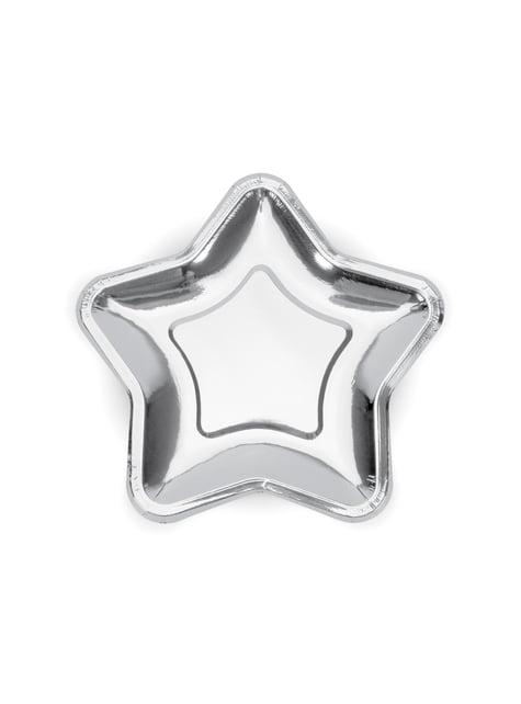 6 platos plateados con forma de estrella de papel (23 cm) - Princess Party